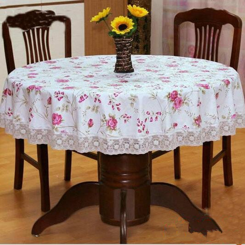 Delightful New Large Lace Printing Tablecloth PVC Round Tablecloth Rural Style  Thickening Round Table Cloth Waterproof And