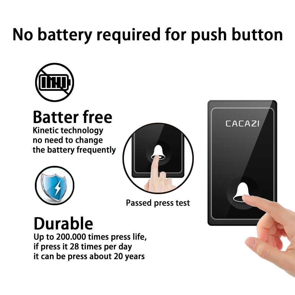 CACAZI sin batería timbre inalámbrico autoalimentado inteligente 58 campanas 2 botones x 3 receptor US EU UK enchufe timbre de puerta inalámbrico para el hogar