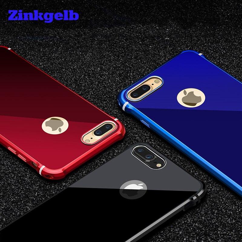 imágenes para Para el iphone 7 Caja de Lujo de Aluminio Duro Del Brillo de Metal + Acrílico de Protección Caja del teléfono Para el iphone 6 6 s 7 más Caso de la Cubierta Fundas