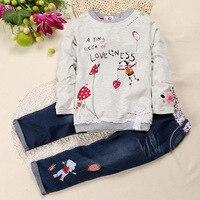 Fashion Print Baby Girls Clothing Sets Cute Print Children T Shirt Pants Sets Kids Clothes Jeans