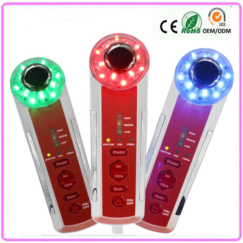 ФОТО Free Shipping  4 IN 1 Sonic Vibration Led Light Photon Therapy Skin Renewal Ultrasonic Galvanic Ion Facial Beauty Face Massager