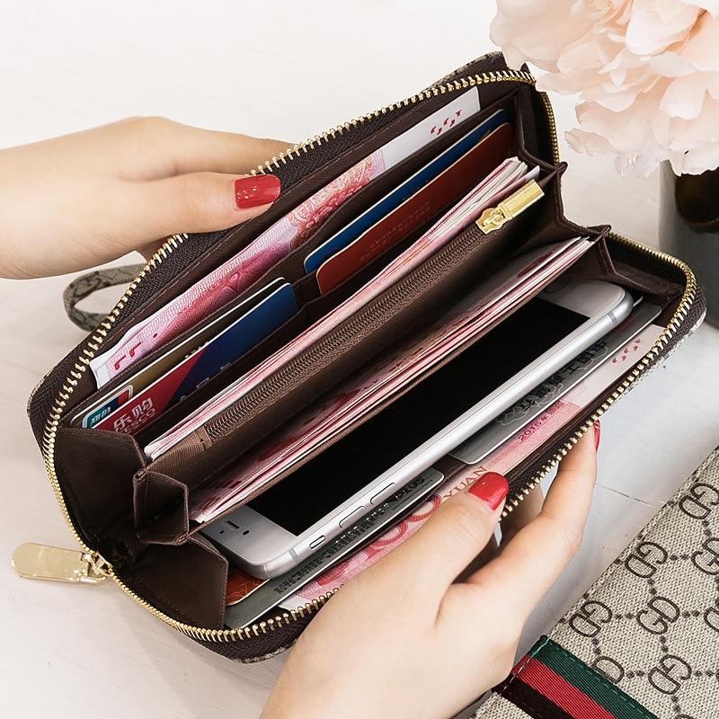 Credit Card Wallet PU Leather Zipper Women's Wallet Wristband Retro Print Long Wallet 6