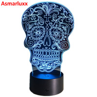 Dead Sugar Skull LED Night Light USB Battery 7color Change LED Desk Lamp Table Light With