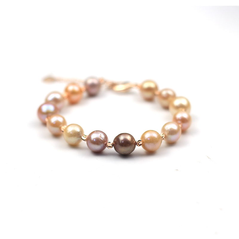 MADALENA SARARA 9-10mm AAA Broque round Freshwater Pearl Natural Mixed Color Edison Pearl Bead bracelet