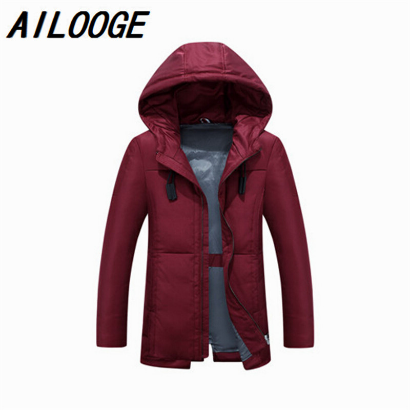 Mens Hooded Coat Plus Size 2XL 3XL Mens Duck Down Jacket Zipper Coat Winter Warm Down Jackets For Male Brand Clothing
