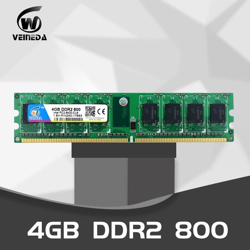 VEINEDA DDR2 4GB800MHz PC2-6400 240Pin Mémoire Dimm ddr2 4 go 667 PC5300 juste Pour AMD ram de bureau