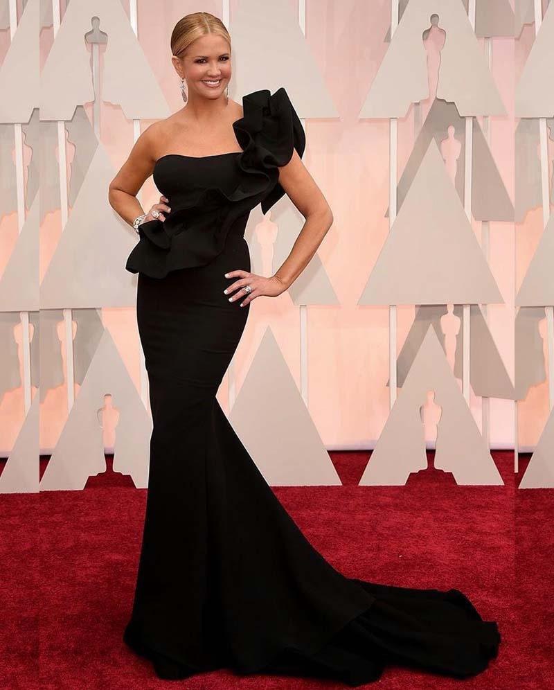 Ladies Dressing Gowns: High Quality Black Oscar Dress One Shoulder Ruffles
