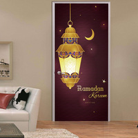 2pcs Set 3D Muslim Style DIY Door Art Mural Stickers Ramadan Blessings Lantern PVC Wall Decals