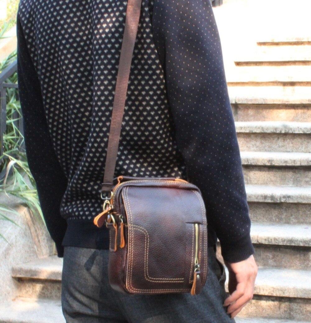 все цены на New Men Vintage Genuine Leather High Quality Handbag Business Briefcase Messenger Single Shoulder Bag Cigarette Case Phone Bags