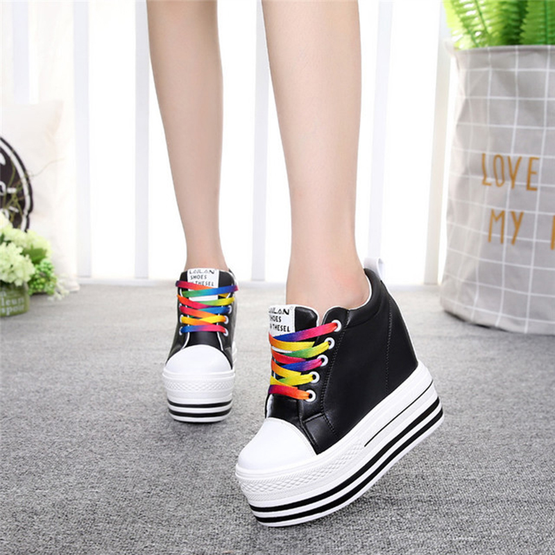 Womens Flat Platform Shoes Black White Sneakers 2019 Spring Casual PU Leather Thick Sole Woman Shoes Hidden Heel Sneakers ShoeWomens Flat Platform Shoes Black White Sneakers 2019 Spring Casual PU Leather Thick Sole Woman Shoes Hidden Heel Sneakers Shoe