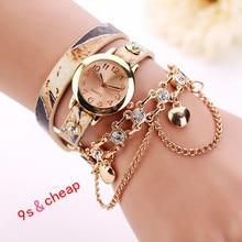 Leather Rhinestone Rivet Chain Quartz Bracelet Wristwatch Watch  Free shipping 0717
