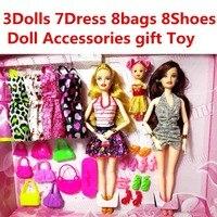 Nuova Moda Barbie Doll Set Grande Regalo Stella Action Figure Models carino Sacchetti FAI DA TE Giocattoli Per Le Ragazze Bambole Dei Bambini Della Principessa Set Vestito