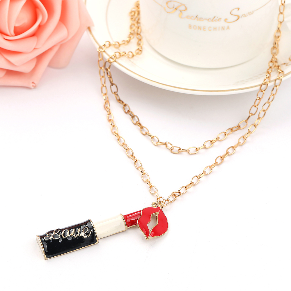 Sweet Charming Lipstick Mouth pendantl Necklaces Women Jewelry Long Neck For Christmas Gift  gold Metal Chain Necklace &Pendant  Ожерелье
