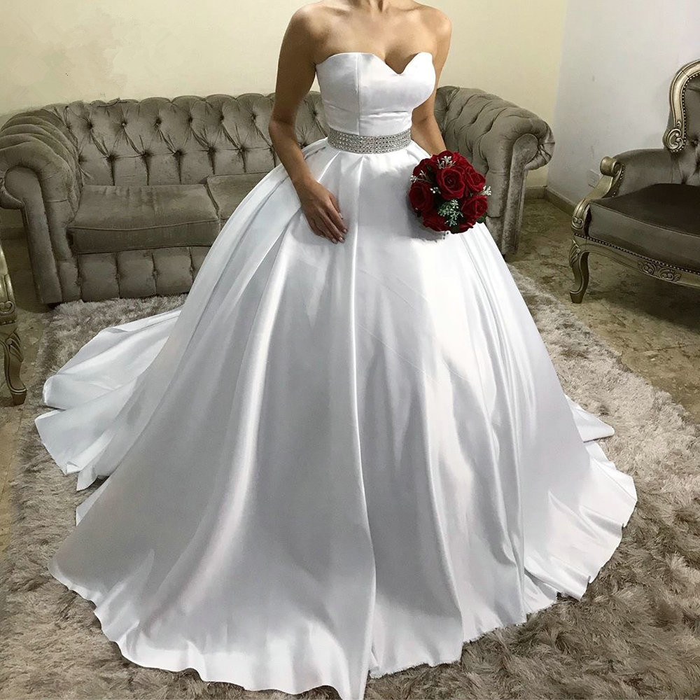 Crystal Wedding Gown: Luxury Ball Gown Satin Wedding Dresses Sweetheart With