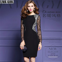 liva girl 2017 Milan Paris Womens Long Sleeve Elegant Embroidery See Through Lace Party Evening Special Occasion Vestidos Dress
