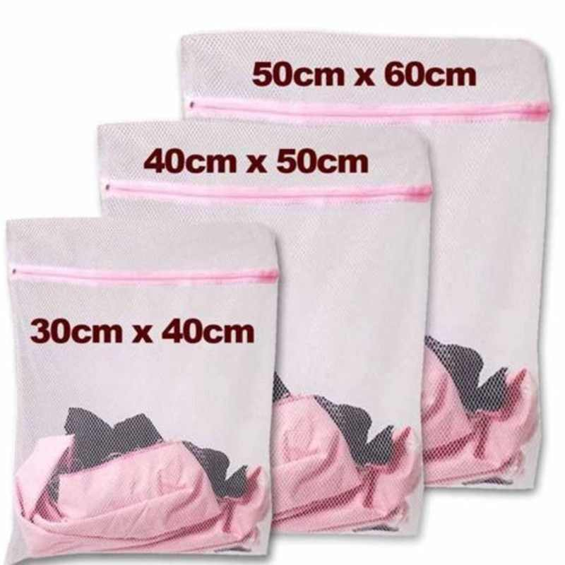 IVYSHION 3 Size Laundry Wash Bags Foldable Lingerie Bra Socks Underwear Washing Machine Bag Zippered Mesh Protection Net Case