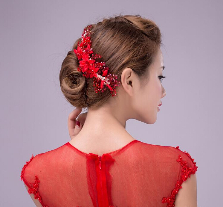 luxury wedding hair accessories red crystal pearl flower tiara bridal hair combs hair jewerly ladies women s head decorations in hair jewelry from jewelry