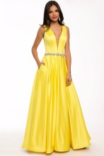2015 Yellow Evening Dresses Satin Deep V-neck A-line Floor-length Backless Sexy Formal Party Plus Size Vestidos