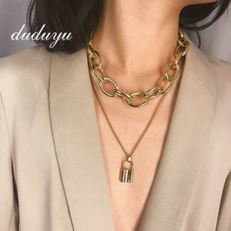 Stainless Steel Gold Silver Color PadLock Pendant Necklace New Rolo Cable Chain Necklace collar ras du cou collier femme w