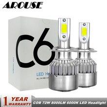 AROUSE H7 H4 H11 H1 H3 9005 9006 COB Car LED Headlight Bulbs Hi-Lo Beam 72W 8000LM 6000K Auto Headlamp Fog Light Bulb DC12v 24v