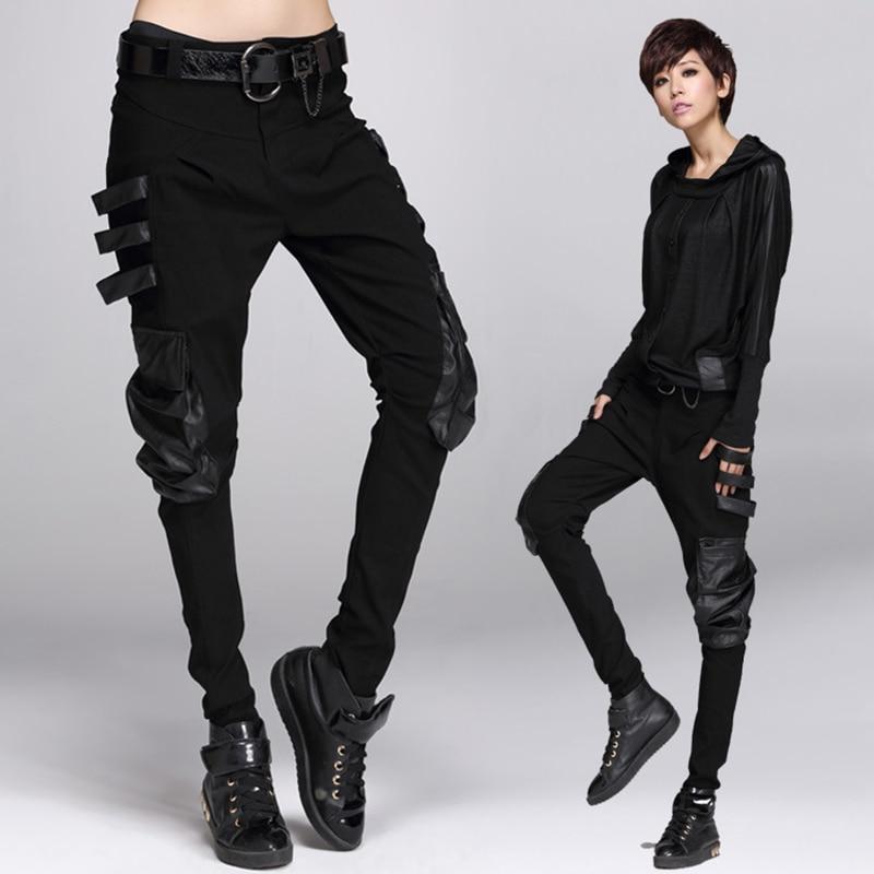 Women Trousers Steampunk Women Work wear Multi Pocket Pants Punk Gothic Lace-up Trousers Fashion Casual Cotton Pants Black