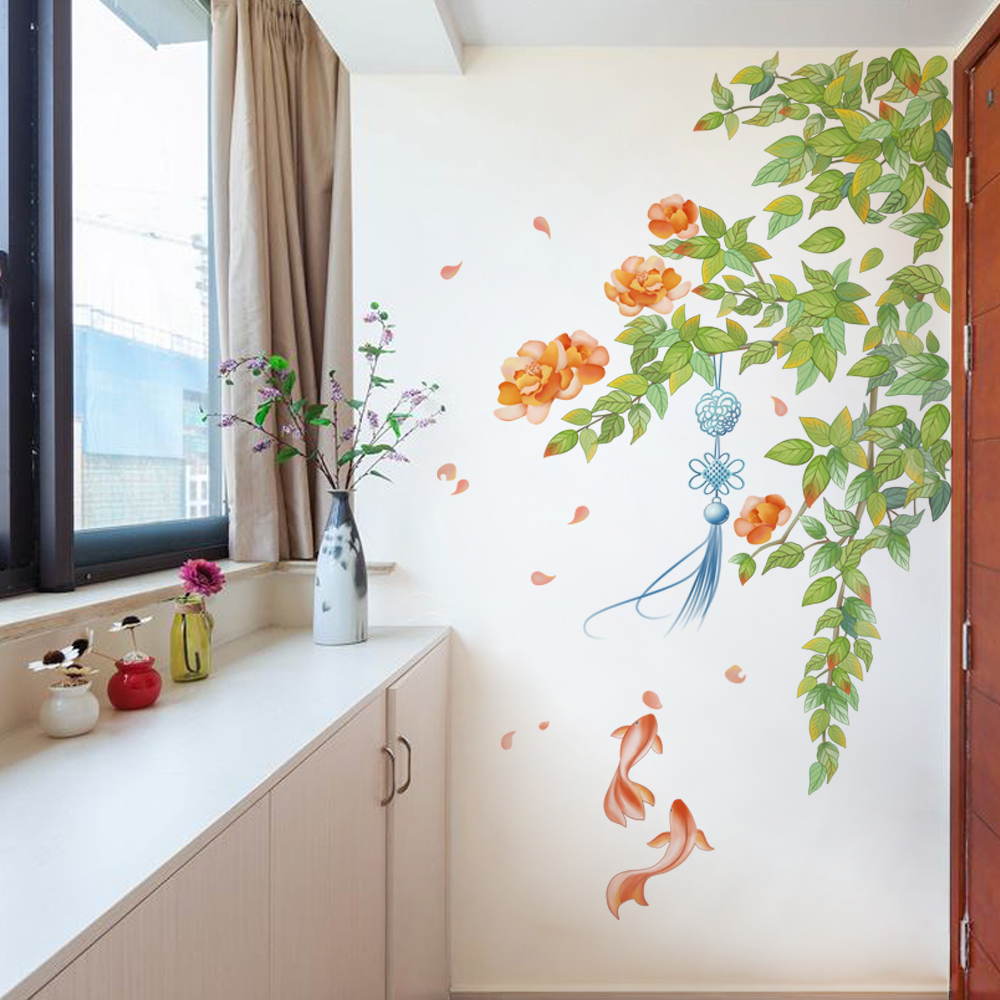 DIY Flowers And Goldfish Art Wall Sticker Fringe Chinese