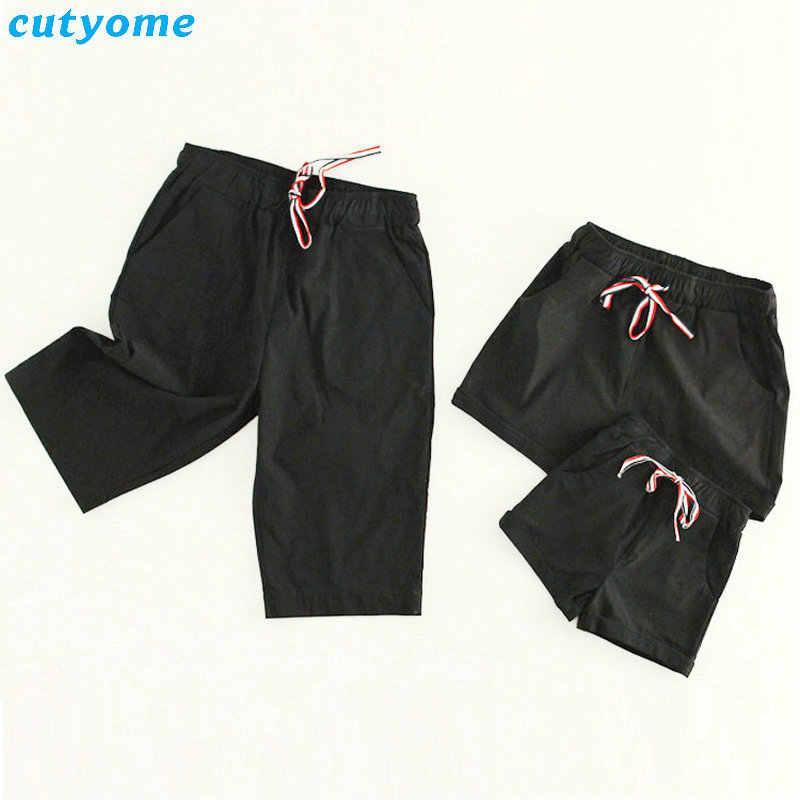 Madre Padre hija hijo pantalones cortos familia juego ropa Pantalones cortos de playa trajes de mamá y papá niños niñas verano T camisa