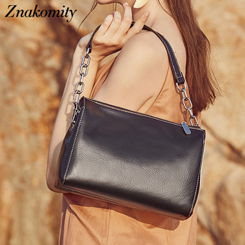 Znakomity Fashion Women Handbags Shoulder Bags Solid Genuine Leather Women Crossbody Bag Small Chains Bags Flap Bags Female 2019