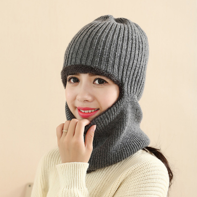 Fashion high quality cashmere warm hat autumn winter outdoor knitted cap cycling sleeve head face neck protecting cap