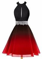 Bealegantom 2019 Halter Gradient Chiffon Short Prom Dresses Ombre Beads Evening Homecoming Graduation Party Gown QA1561