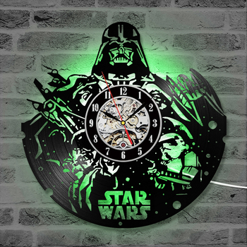 Antique Style Star Wars Record Wall Clock Vintage Home Handmade