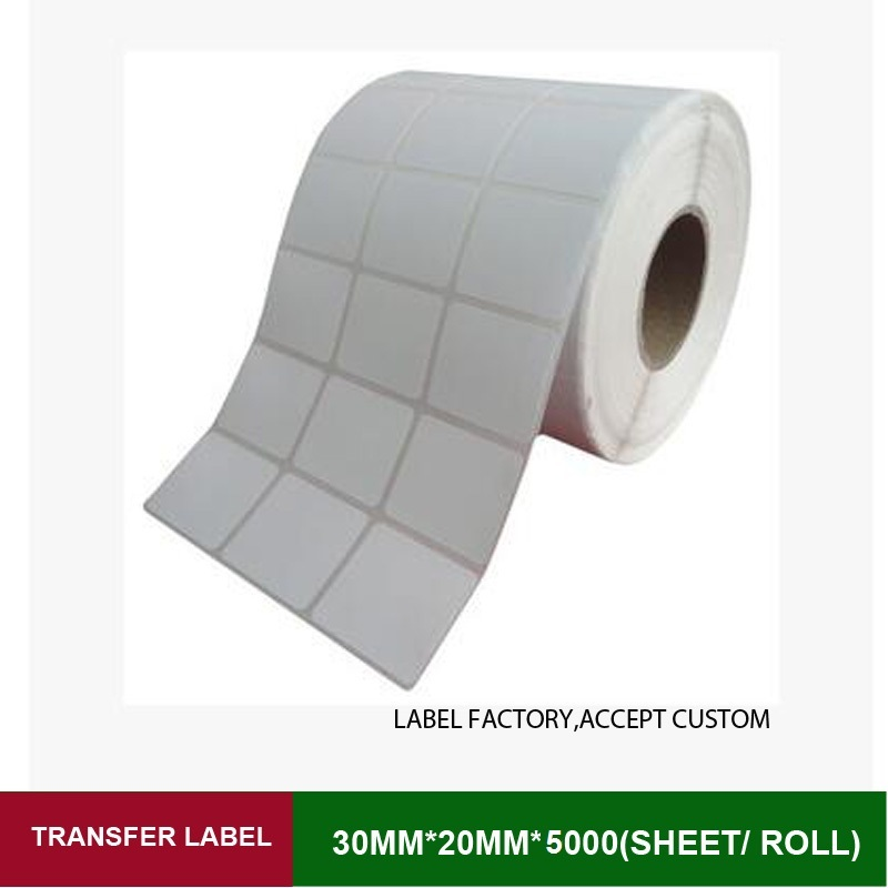 Thermal transfer label 30mm*20mm 5000 sheets per roll 3 row blank adhesive paper can customize use on barcode ribbon printer
