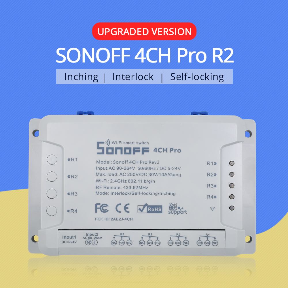 SONOFF 4CH Pro R2 Wifi 433mhz 4 Channels/Gang RF Smart Switch Wireless Remote Self-locking Inching Interlock Relay Google Home