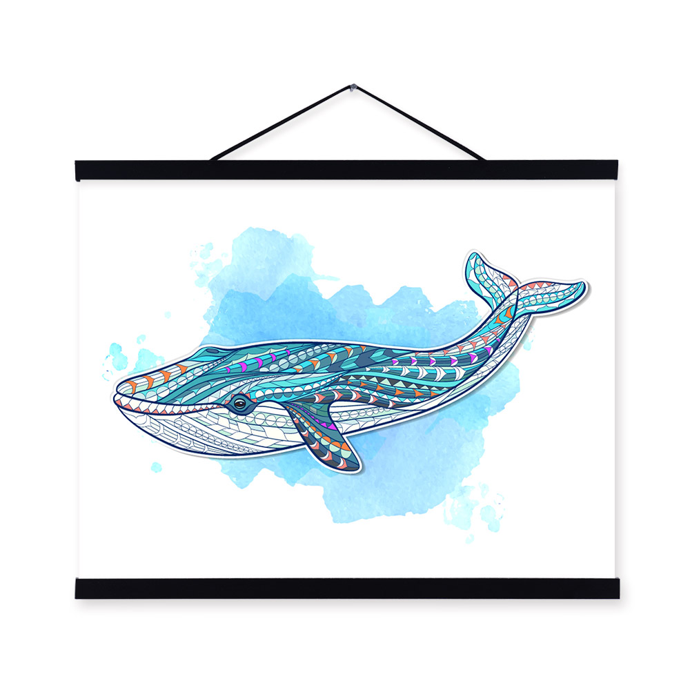 Modern Ancient <font><b>African</b></font> National Totem Animals Whale A4 Framed Canvas Painting Wall Art Prints Picture Poster Bar <font><b>Home</b></font> <font><b>Decoration</b></font>