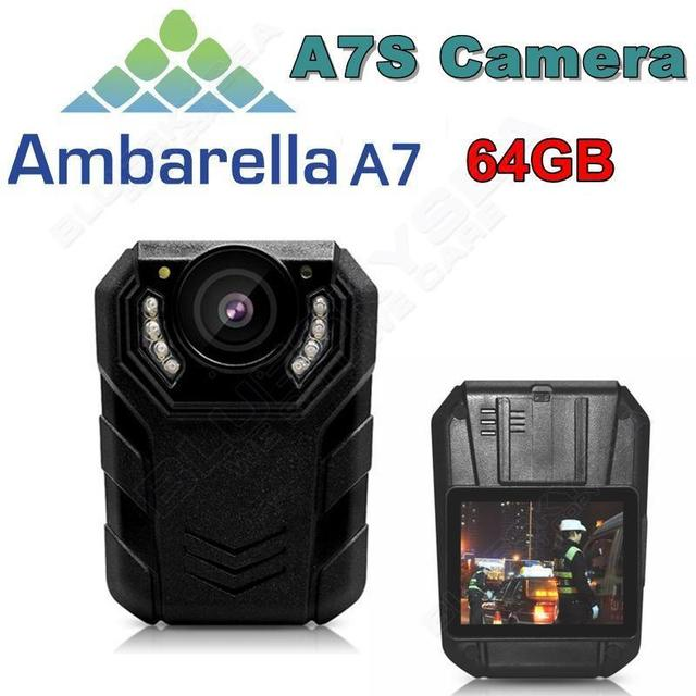 Free shipping!64G Ambarella A7L50 Super HD 1296P 2K Police Worn Camera 170 Hours 60fps IR