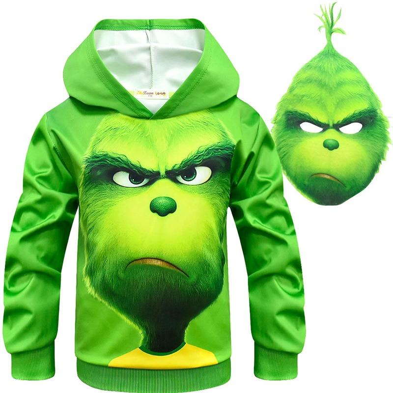 New Green Cosplay Costume Sweatshirt Mask Boy Christmas Carnival Long Sleeve Costume for Kids Sweatshirt Boy Streetwear