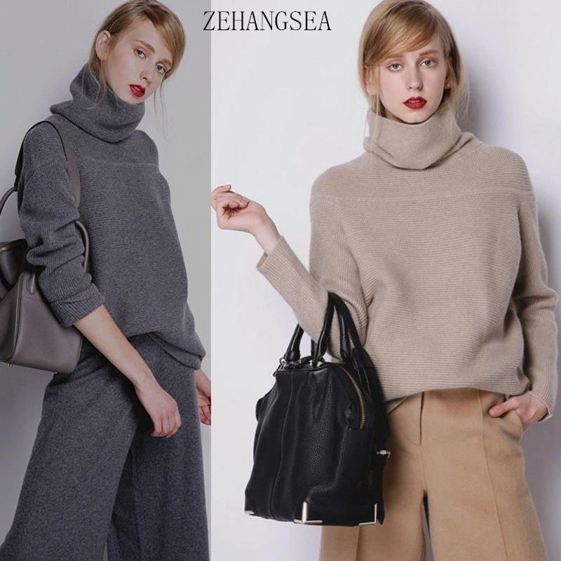 ZEHANGSEA-European Station Pure Cashmere Women's Simple Solid Color Pullover Fashion Elegant Loose Trend Knit Sweater Winter