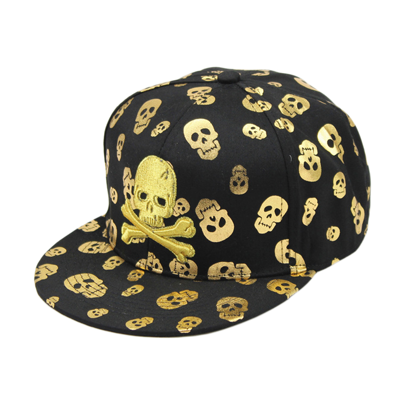 2017 Fashion Casual Gold Skull Head Embroidery High Quality Hip-Hop Caps Flat Snapback Hats  Unisex Baseball Caps 007 2017 high quaitily casual fashion 014