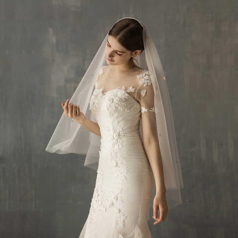 SLBRIDAL Twee-Lagen Sterren Bruiloft Vingertop Veils Met Kammen Bridal Veils Wedding Wear Accessoires Voor Bruid Mariage Vrouwen