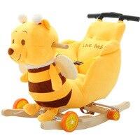 Дети кресла качалки ребенок лошадка ездить на игрушки животных двойного назначения с Музыка Детские вышибала стул колеса коляски от 5 месяц