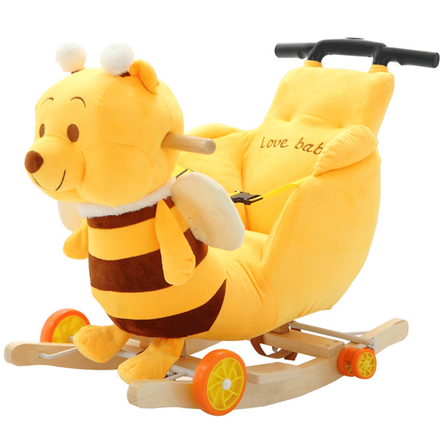 Children Rocking Chairs Baby Rocking Horse Ride on Animal Toys Dual-purpose with Music Baby Bouncer Wheel Chair Stroller 5M~4Y children rocking horse gift baby eating chair music ride on toy cute duck birthday walker amphibious toys 2 kinds of functions