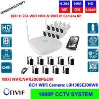 8CH Wireless NVR Kits WIFI IP Plug & Play 1080 P 2MP Drahtlose Kamera Sicherheit Kit Onvif IOS Android WiFi Cctv