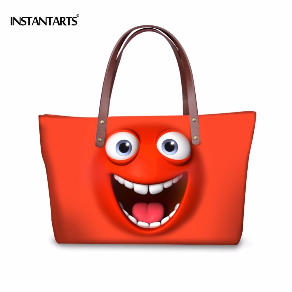 INSTANTARTS Women Large Capacity Handbag Cute Cartoon Emoji Tote Ladies Shoulder Bags Br ...
