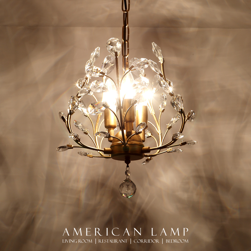 American style chandelier Nordic rural retro pastoral crystal branch creative aisle three restaurant Chandelier in Pendant Lights from Lights Lighting