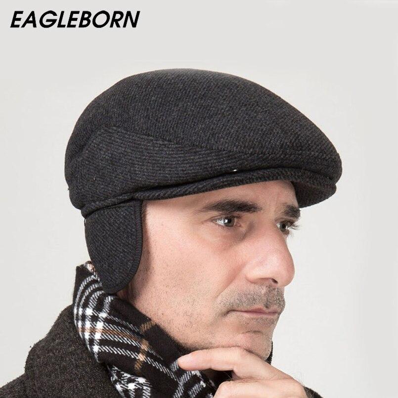 2019 nueva marca de invierno sombrero de la boina espesar tapa snapback de  lana banda plegable 4a8f2149495