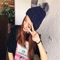 Chapéu das mulheres Da Moda 6 Cores da Mulher Quente de Lã Chapéus de Inverno bola de cabelo de malha Chapéus para chapéu Gorro Gorro de Natal Rodada apontou