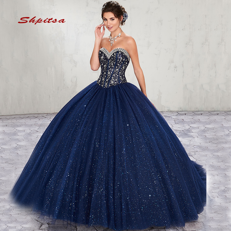 Luxury Navy Blue Quinceanera Dresses Ball Gown Tulle Prom Debutante Sixteen 15 Sweet 16 Dress vestidos