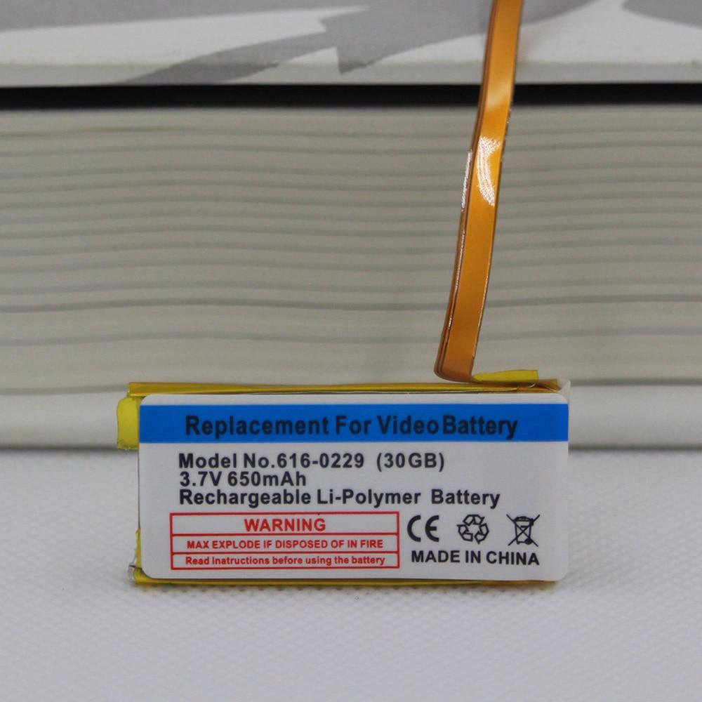 650 mAh Bateria de Substituição para ipod classic 6th gen 7th 80 GB Fina 120 GB 160 GB para ipod 5/5. 5 30 gb 616-0229 bateria gen + ferramentas