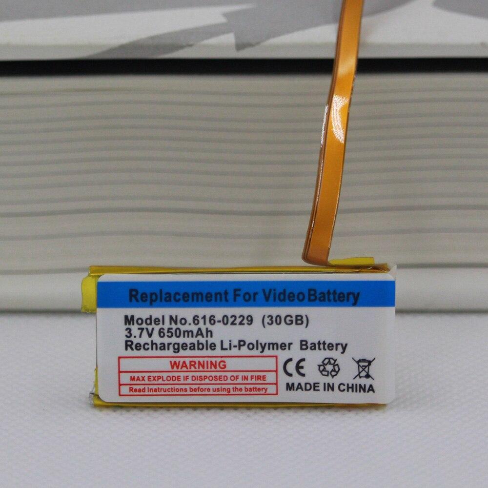 Bateria da substituição de 650 mah para o gen clássico 6th 7th 80 gb 120 gb fino 160 gb para o ipod 5/5. 5 gen 30 gb 616-0229 bateria + ferramentas