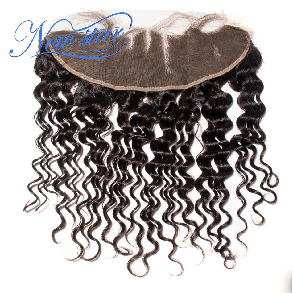 Новая звезда волос бразильские глубокая волна 13x4 кружева фронтальные закрытия 3 части уха до уха предварительно выщипанные волосы натуральные цветные волосы для наращивания